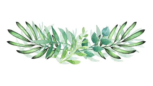白地に緑の葉で描かれた水彩画の手