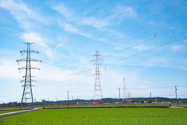 高電圧ポスト、高電圧塔の空の美しい背景