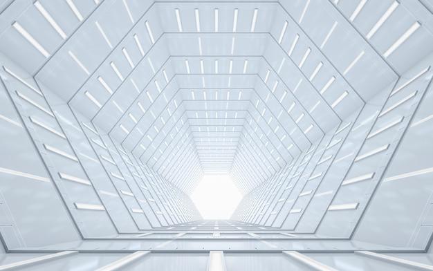 抽象的な照らされた空の廊下のインテリアデザイン