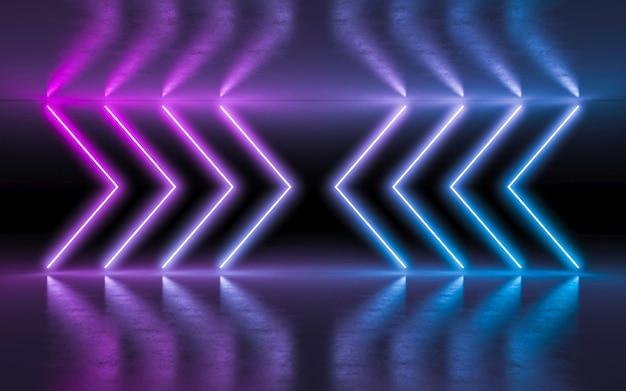 抽象的な背景紫と青のネオンの反射と空の暗い部屋で白熱灯。
