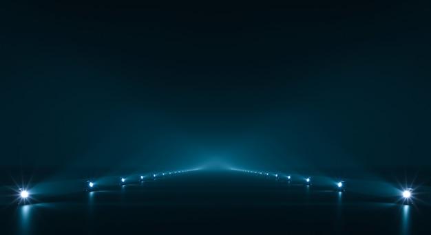 光照明と未来的な経路の背景
