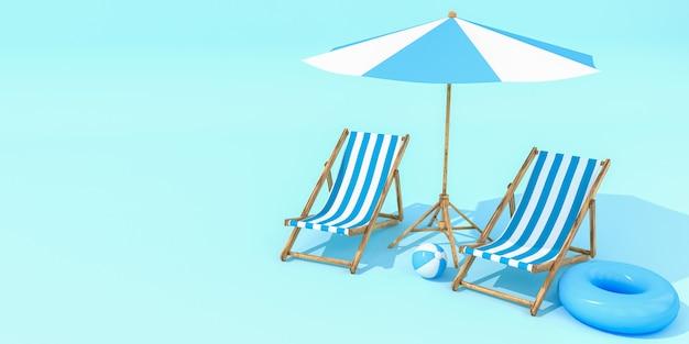 Зонтик пляжа с стульями на стене пастельных цветов. концепция минимализма.