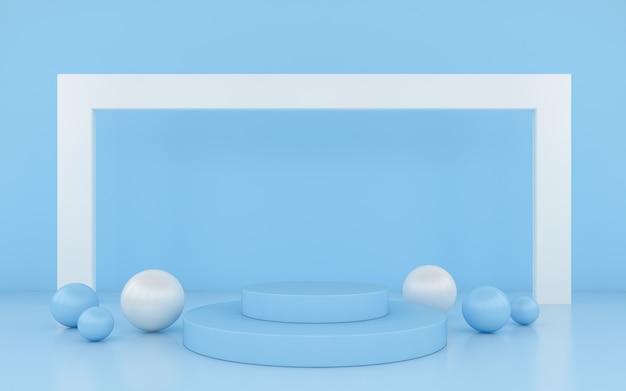 Минимальный синий подиум на фоне синего цвета для продукта.