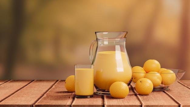ガラスと木製の床の自然に投手とオレンジジュース
