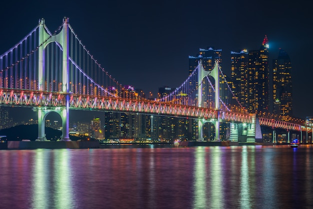 韓国・釜山市の広安大橋と海雲台。