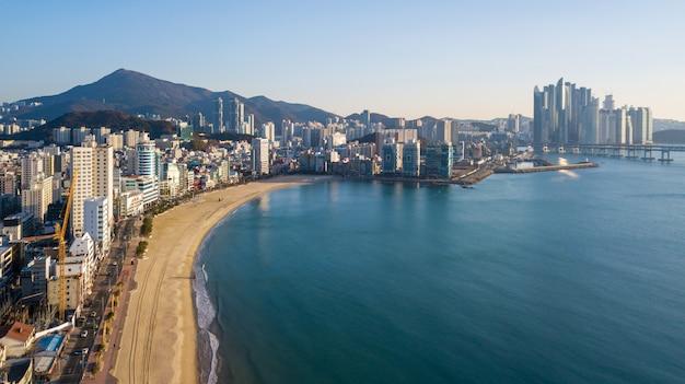 韓国釜山市広安大橋の空撮