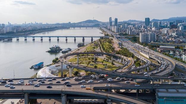 ソウル市の空撮