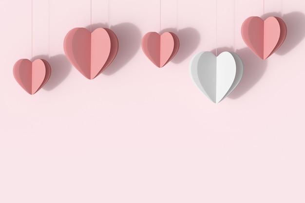 ピンクのパステル調の背景にピンクの心を持つ優れたホワイトハート。最小限のバレンタインコンセプトのアイデア。