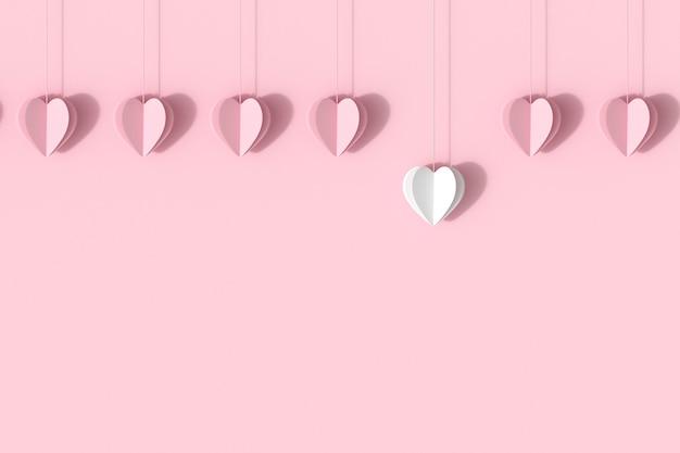 ピンクのパステル調の背景にピンクの心を持つ優れたホワイトハート。
