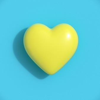 青い背景に黄色のハート形。最小限のバレンタインコンセプトのアイデア。