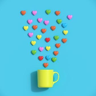 カラフルなハート形の青い背景に黄色のマグカップ。最小限のバレンタインコンセプトのアイデア。