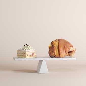 パステル調の背景に豚足でシーソーを傾けるケーキ。食べ物のアイデアは最小限。