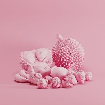 パステルピンクの背景にピンク色ミックスフルーツモノトーン。最小限の果物のアイデアコンセプト。