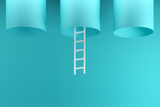 青の真ん中に青いチューブの中にぶら下がっている顕著な白いはしご