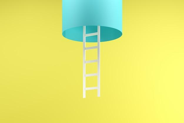 黄色に分離された青い管の中にぶら下がっている白いはしご
