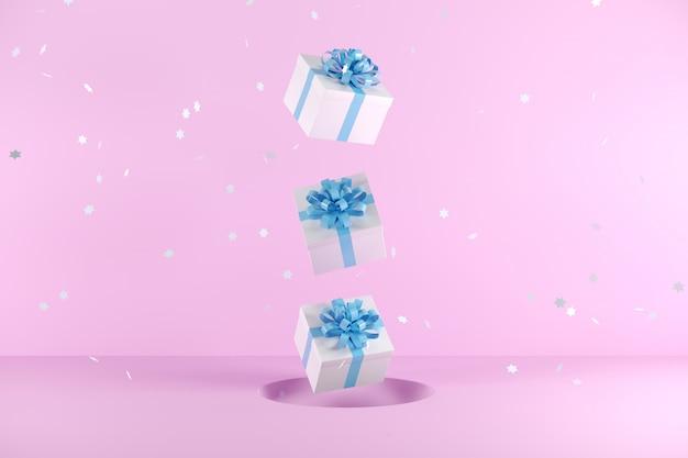 ピンクの背景に浮かぶ青いリボン色の白いギフトボックス