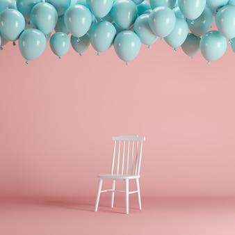ピンクの背景の部屋のスタジオに浮かぶ青い風船と白い椅子