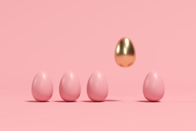 ピンクの背景に茶色の卵の中で浮かぶ優れた黄金の卵。最小限のイースターのアイデア。
