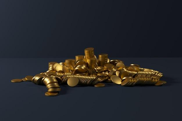 Стек золотых монет падает на синий цвет