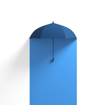 ブルーハーフに浮かぶ青い傘ホワイトカラー