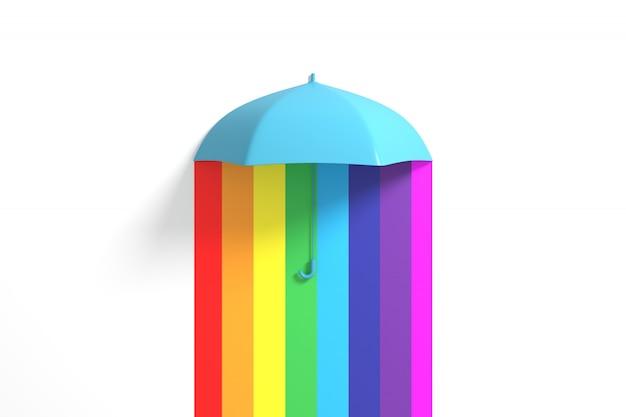 カラフルな色に浮かぶ青い傘