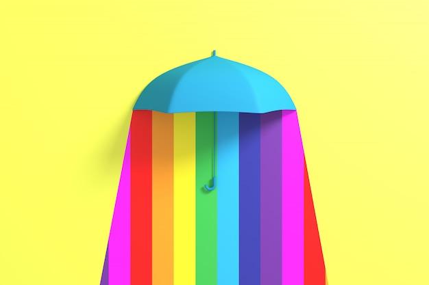 雨に浮かぶ青い傘カラフルな色