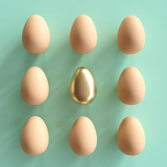 緑色の背景で自然な卵の中で際立った黄金の卵。最小限のイースターの考え。
