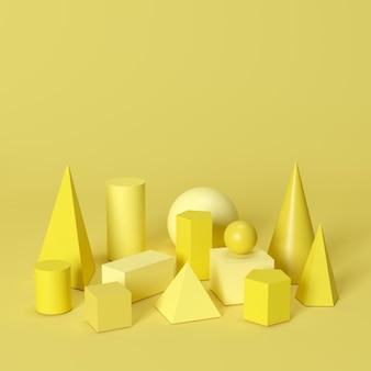 黄色のモノトーンの幾何学的図形を黄色の背景に設定します。最小限の概念のアイデア