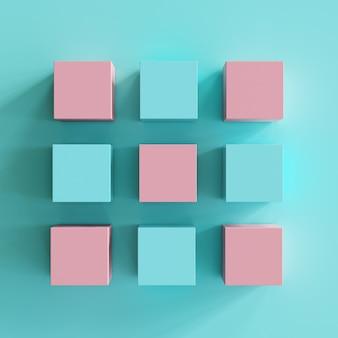 青い背景にピンクとブルーのボックス。最小限の平干しコンセプト