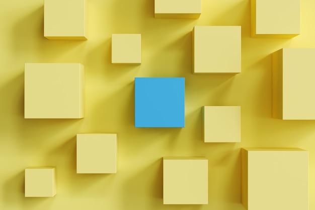 Выдающаяся синяя коробка среди желтых коробок на желтой предпосылке. минимальная плоская концепция