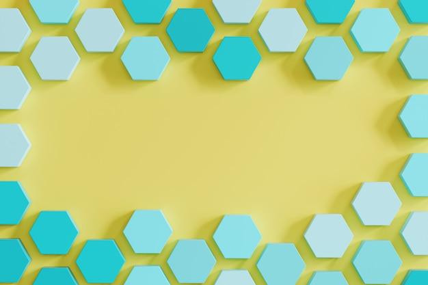 黄色の背景に青い単調蜂の巣のような六角形。最小限の概念のアイデア