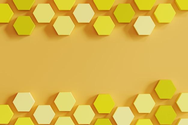 明るいオレンジ色の背景に黄色の単調蜂の巣のような六角形。最小限の概念のアイデア