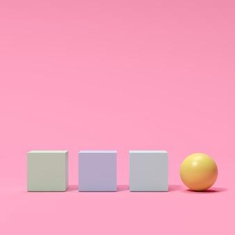 カラフルなボックスとピンクの背景に黄色の球。最小限の概念のアイデア