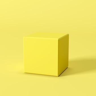 黄色の背景に黄色のボックス。最小限の概念のアイデア