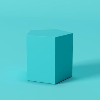 青い背景に青い五角形のボックス。最小限の概念のアイデア