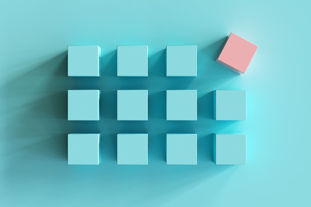 青い背景に青い箱の中で際立ったピンクの箱。ミニマルフラットレイコンテスト
