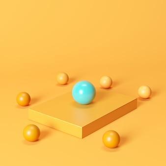 オレンジ色の背景にオレンジ色の球に囲まれたオレンジ色のボックスに卓越した青い球。