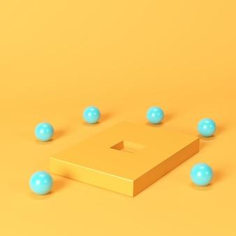 オレンジ色の背景に青い球で囲まれた正方形の穴とオレンジ色のボックス