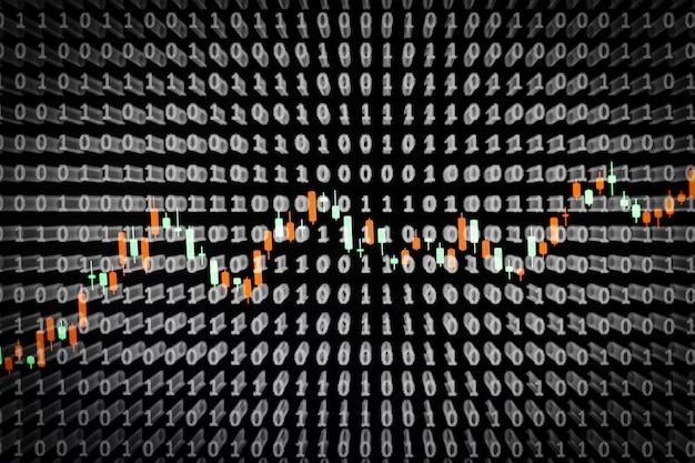 バイナリの背景を持つオンラインビジネス画面のコンセプト