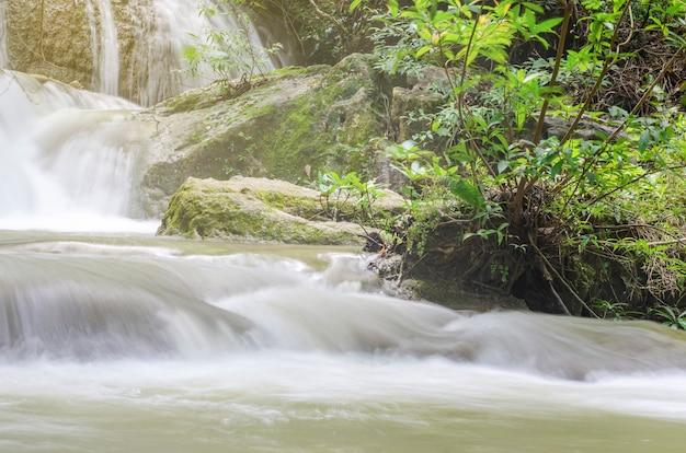 水は、ぼやけたパターンの背景を持つ国立公園内の岩を通って流れます。