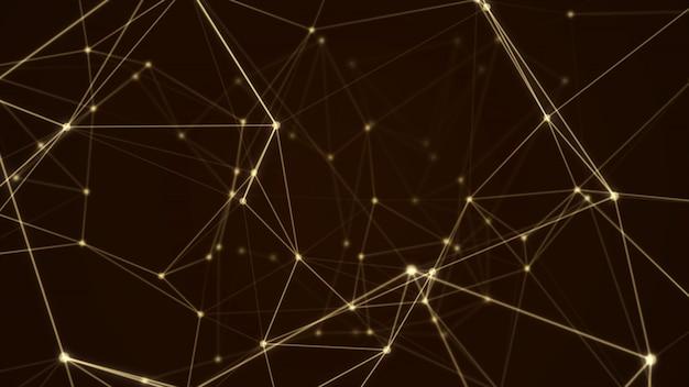 抽象的な未来的な分子構造ゴールドカラーブラックの背景