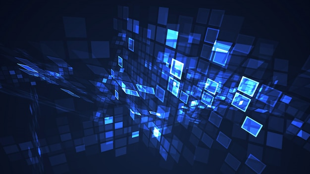 抽象的なブルーグラフィック点滅長方形グリッド視点の背景