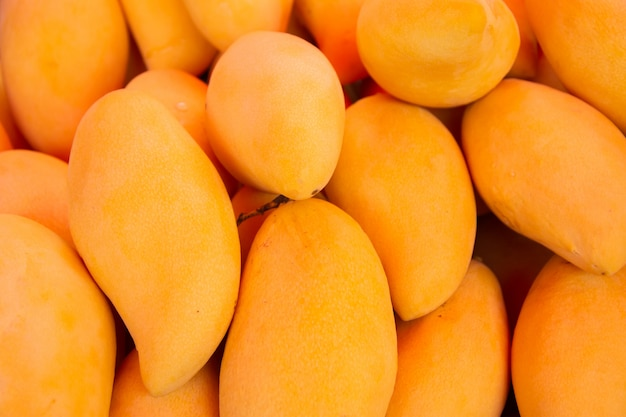 マンゴー、トロピカルフルーツ、朝の市場での販売