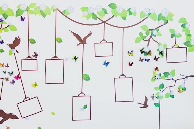 壁装飾、木、魔法の蝶と鳥の壁の配置