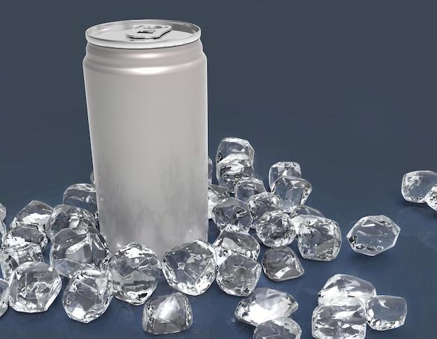 空白のアルミ缶がモックアップし、明確な背景の上のアイスキューブ。