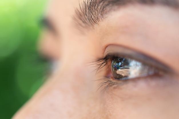 Макрос глаз, зрение глазного яблока азиатской концепции женщины