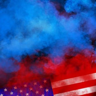 独立、退役軍人、労働、記念日の米国の壁のデザインをフラグします。黒い壁にカラフルな煙