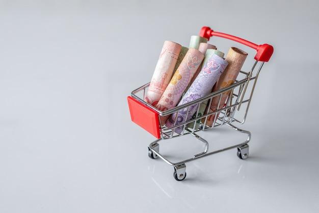 お金が入ったショッピングカート