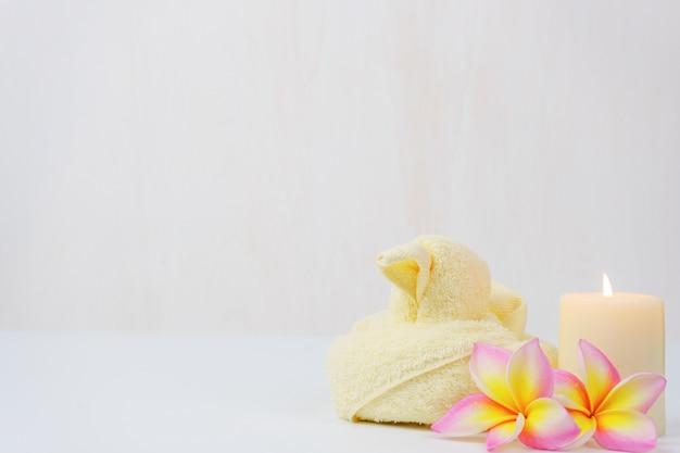 スパウェルネスセット。美しさとファッションは白いテーブルにセットされています。