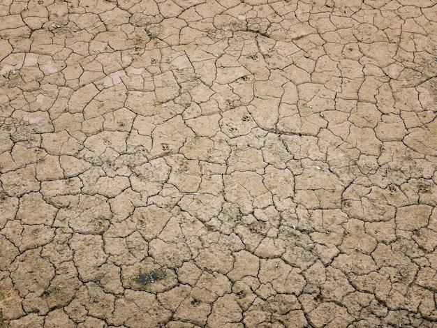 地面の乾燥した泥の不毛の背景とテクスチャー